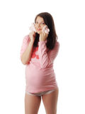 Pregnant Woman In Studio Royalty Free Stock Images