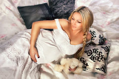 Pregnant woman in  the interior Royalty Free Stock Photography