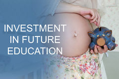 Pregnant woman investment baby education Royalty Free Stock Image