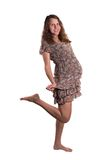 Pregnant woman jumping, smiling, happy Royalty Free Stock Photo
