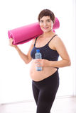 Pregnant woman keeping in shape Royalty Free Stock Images