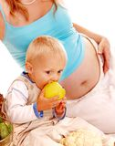 Pregnant woman and kid . Royalty Free Stock Images