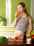 Pregnant Woman on Kitchen Stock Photos