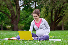 Pregnant woman with laptop. Beautiful pregnant woman in the park Royalty Free Stock Photography