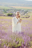 Pregnant woman in a lavender field Royalty Free Stock Image