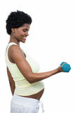 Pregnant woman lifting dumbbell Royalty Free Stock Photos