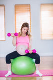 Pregnant woman lifting dumbbells on exercise ball Stock Images