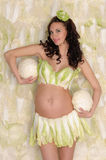 Pregnant woman in lingerie from lettuce Royalty Free Stock Photo