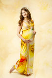 Pregnant woman in long dress over yellow art background. Pregnant woman in long dress over yellow floral art background Stock Photo