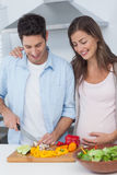 Pregnant woman looking at husband cutting vegetables Stock Images