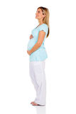 Pregnant woman looking up. Side view of pregnant woman looking up isolated on white Stock Image
