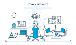 Pregnant woman in a lotus position rests and restores strength. Yoga pregnant, interior room. A pregnant woman in a lotus position rests, restores strength in Royalty Free Stock Photos