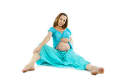 Pregnant woman lying Stock Photo