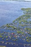 Flooded terrain in lowlend of Great river. Ob River Flood June 2015 Aerial View of same houses in vicinity of Nizhnevartovsk, Tyumen region, Russia. Aerial view stock image