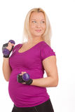 Pregnant woman making fitness Royalty Free Stock Image