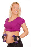 Pregnant woman making fitness exercises Royalty Free Stock Photos