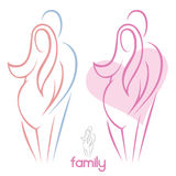 Pregnant woman and man. Vector illustration of married couple Royalty Free Illustration