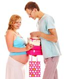 Pregnant woman with man. Royalty Free Stock Photos