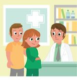 Pregnant woman and man in doctor`s office royalty free illustration