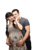 Pregnant woman and the man, isolated. Royalty Free Stock Photos