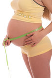 Pregnant woman measures her belly Royalty Free Stock Photo