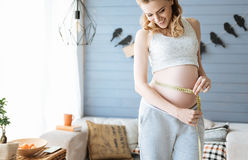 Pregnant woman measuring her waist Royalty Free Stock Photo
