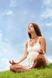 Pregnant woman is meditating Royalty Free Stock Photo