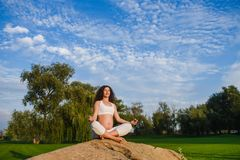 Pregnant woman in meditation pose on stone. Grass in the park. Green lawn and sky in the background Stock Images