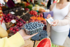 Pregnant woman with money buying berries at market Royalty Free Stock Photography