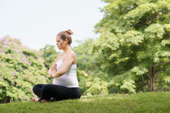 Pregnant woman mother belly relaxing park yoga prayer Royalty Free Stock Images