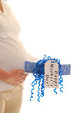 Pregnant woman with mothers day present  Stock Photo