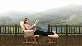 Pregnant woman at mountain resort, stock footage stock video