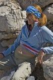 Pregnant woman in mountains Royalty Free Stock Photos