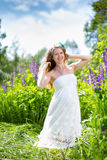 Pregnant woman on the nature Royalty Free Stock Image