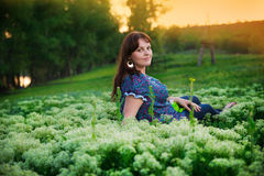 Pregnant woman in nature Royalty Free Stock Image