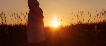 Pregnant women at sunset. Pregnant woman at orange sunset royalty free stock photos