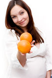 Pregnant woman and oranges Royalty Free Stock Photography