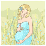 Pregnant woman outdoor illustration. Royalty Free Stock Photo