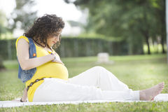 Pregnant Woman in outdoor Royalty Free Stock Photography