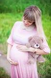 Pregnant woman outdoor Stock Photos