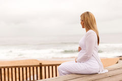 pregnant woman outdoors Royalty Free Stock Image