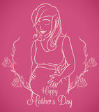 Pregnant Woman in Outline Design for Mother's Day Card, Vector Illustration Stock Image