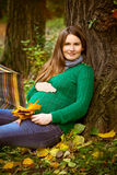 Pregnant woman in  the park Royalty Free Stock Photo