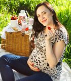 Pregnant woman at picnic in the spring park Royalty Free Stock Photography