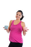 Pregnant woman with piggy banks Stock Photo