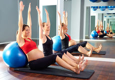 Pregnant woman pilates exercise fitball Stock Images