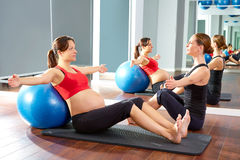 Pregnant woman pilates exercise fitball Stock Photography