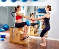 Pregnant woman pilates leg pumps exercise wunda Stock Images