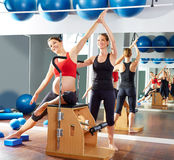 Pregnant woman pilates side stretch exercise Royalty Free Stock Images
