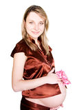 Pregnant woman with pink baw Royalty Free Stock Photography